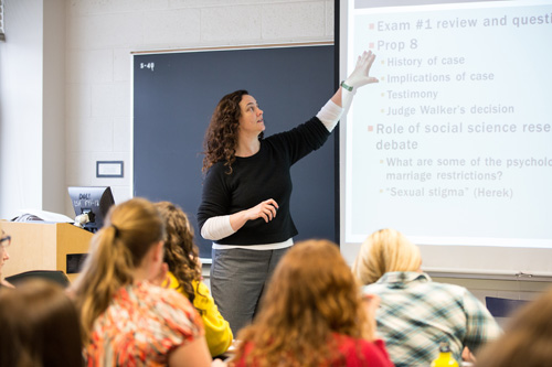 Sara McClelland, assistant professor of psychology and women's studies and a Teaching Academy participant, conducts a class on Sex, Sexuality & Public Policy