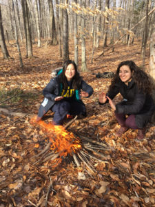U-M Alternative Spring Break students Juliet Wu, left, and Nikole Koszarycz, serve as co-site leaders during the visit to the Native American-focused Ndakinna Education Center in New York. Photo by Michelle Phalen