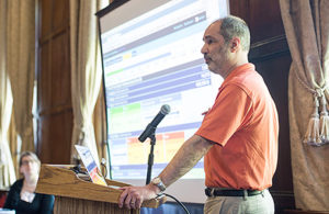 Barry Fishman, Arthur F Thurnau Professor of Education and professor of information, explains to workshop participants how gameful strategies in courses allows students to choose their own paths to learning and encourage risk-taking.